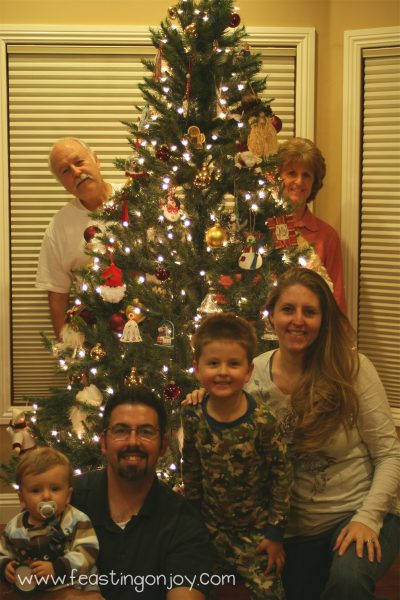 Us by the decorated Christmas tree