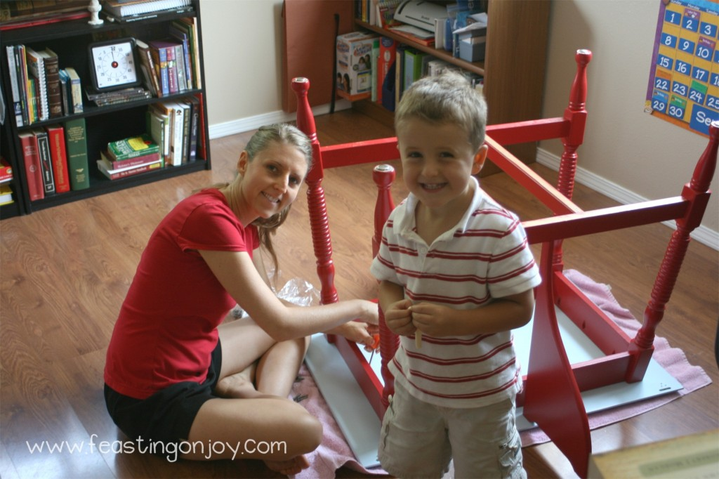 Cody and I putting the finished school room table together